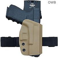 OWB KYDEX Holster Fits: Glock 19 19x Glock 23 25 32 Glock 17 22 31 Glock 26 27 33 (Gen 1-5) CZ P10 Gun Holster Belt Outside Carry Funda Pistola Case Pouch Holster Guns Accessories (Tan, Right Hand)