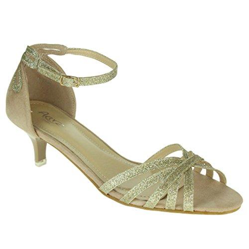 Femmes Dames Soir Mariage Fête Bal de promo Décontractée Open Toe Ankle Wrap Talon de chaton Des sandales Chaussures Taille Or