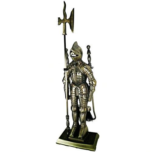 LIZH METALWORK®Mittelalter Mittelalter Ritter Soldat Gusseisen Kamin Werkzeug Set Kamin Companion Set, Antik Messing (Gusseisen-werkzeug-set)