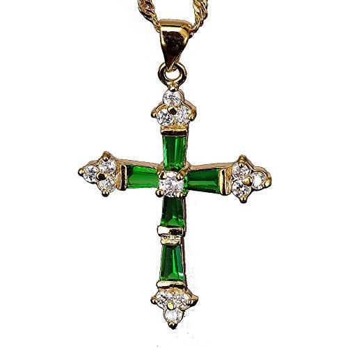 """RIVA Kruzifix Kreuz Anhänger mit 45cm(18"""") Kette & Trapezschliff Edelstein Zirkonia CZ [Grün Smaragd] in 18K Gelbgold Vergoldet, Einfache Moderne Eleganz"""