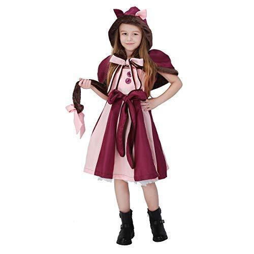 Fanessy. Mädchen Damen Grinsekatze Kostüm Kleid Halloween Dress-up Outfit Set Kind Erwachsene Verkleidung Cosplay Outfits für Fasching Halloween Karneval - Party Stadt Katze Kostüm Kinder