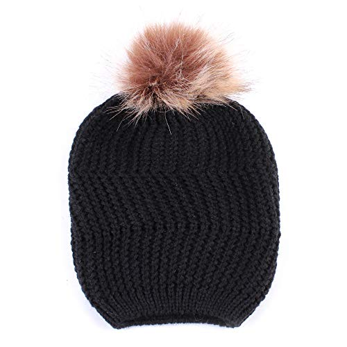 ZZBO Warme Mütze Damen Wintermütze Beanie Mützen Gerippte Strickmütze mit Kunstfellbommel Twist Stricken Wollmütze