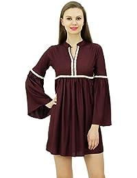 Bimba Diseñador de detalle de encaje larga volante vestido de manga corta vestidos Boho chic