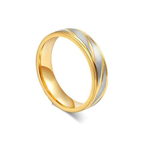 Onefeart Damen Titan Stahl Ring Herren Hochzeitsband,Twill Design 4MM&6MM Größe 60 (19.1) Mädchen Silber Gold (Platin Schuhe Damen)