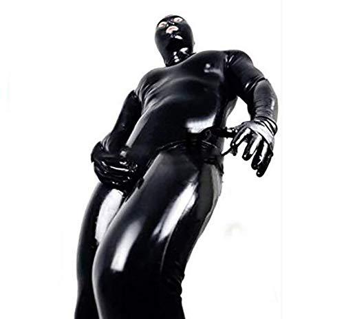 SHANGXIAN Männer erotisch Latex Catsuit Kunstleder Jumpsuit Nachtclub Homosexuell sexy Fetisch Kostüm Gefangener Cosplay Bodysuit Mit ()