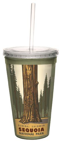 Tree-Free Greetings cc33300 Vintage Sequoia Park General Sherman Tree von Paul A. Lanquist Artful Traveler Doppelwandiger Cool Becher mit Strohhalm, 473 ml