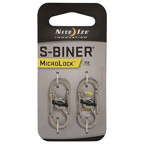 Nite Ize Karabiner S-Biner MicroLock 2 Stk, silber, NI-LSBM-11-2R3