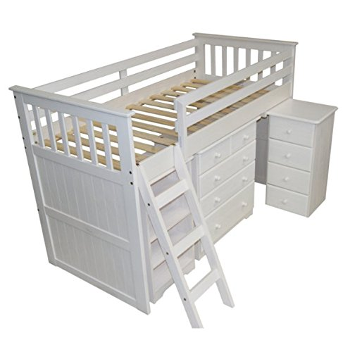 Wooden Single Bunk Bed - with Storage - Features Ample Storage Space to Organise Clothes and Toys (White Wash)