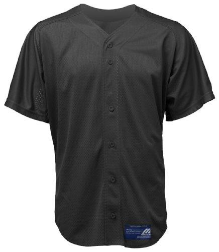 Mizuno Boy 's Full Button Mesh Short Sleeve Baseball Jersey, Jungen, 350122.9090.07.XL, Schwarz, XL -