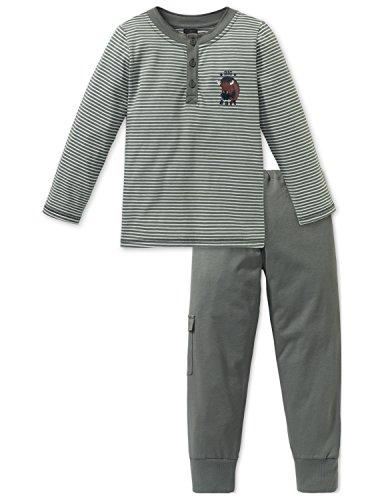 Schiesser Jungen Zweiteiliger Schlafanzug Big Buff Kn Anzug lang, Grün (Khaki 701), 104