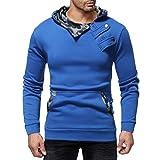 SEWORLD Sport Herren Mode Freizeit Oberteile Bluse Sommer Herbst Einzigartig Herren Winter Casual Camouflage Reißverschluss Slim Langarm Hoodie Top Bluse(Blau,EU-50/CN-L)