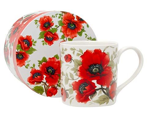 Duo Kaffeebecher Kaffeetasse groß weiß Blumen Porzellan Teetasse Geschenktasse...