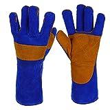 XJZxX Leder Schweißhandschuhe, Hitzebeständigkeit Anti-Kratzer Schnittfeste/Perfekte Wahl der Blockierung von Wärme und Schut