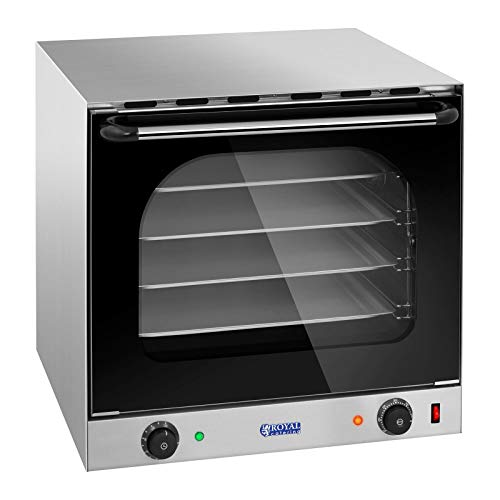 Royal Catering Heißluftofen Gastrobackofen Konvektionsofen Konvektomat RCCO-2.0 (2.400 W, Temperaturbereich 0–300 °C, Timer 0–120 Min, inkl. 4 Bleche und Griff)
