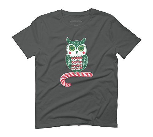 Festive Owl Men's Graphic T-Shirt - Design By Humans Anthracite