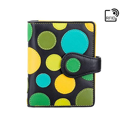 Visconti Leder Damen Geldbörse Polka Multicolor Purse (P3): (Lily pad (Blaugrüntöne))