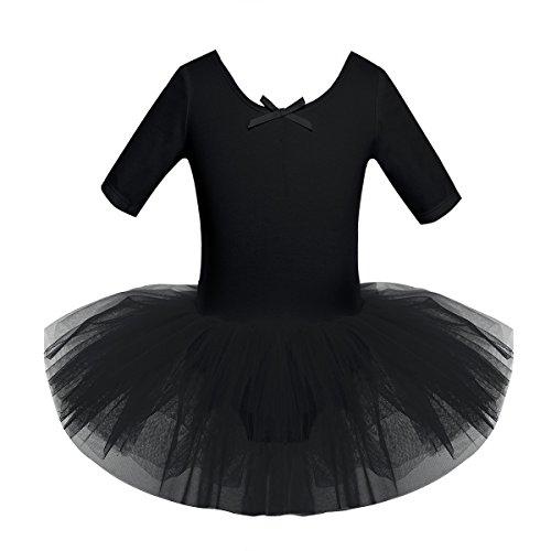 iEFiEL Mädchen Ballettkleid, Kinder Ballettanzug Tütü Ballett Trikot Turnanzug Kurzarm Ballettkleid mit Röckchen Schwarz - Schwarz Ballett Kostüm
