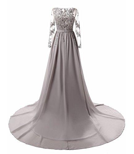 Abendkleider Damen Lang Elegante Hochzeit Chiffon Festlich Spitze A Line Maxi Ballkleid Cocktailkleider 32-46 FStory&Winyee 2017 Dress A-Grau