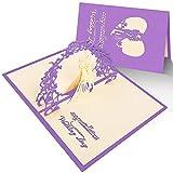 Hochzeitskarte 3d,Hochzeit Einladungskarte mit Umschlag,Pop Up Karte mit Glückwunsch für Hochzeitseinladungen,Hochzeit Jahrestag,Valentinstag,Verlobung,Konzert,Lila,1 stück