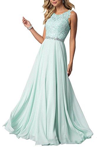 CLLA dress Damen Chiffon Spitze Abendkleider Elegant Brautkleid Lang Festkleid Ballkleider(Minze,36)