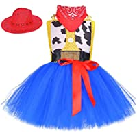JJAIR Disfraces Woody Tutú para niñas, Trajes de la Etapa de los apoyos en Capas de Tul Falda del tutú con el Sombrero y la Bufanda 3 Juegos,XL