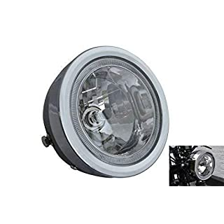 Black Motorbike Headlight with LED Halo Ring 6.5 inch dia. 12V 35W