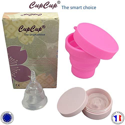 Copa Menstrual Plegable (X2) Patentado Y Certificado Por La CE. Suave/Blando. Con El Esterilizador Plegable + Caja De Transporte. Transparente. Silicona Médica Hipo Alergénica