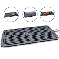 Silicone Drying Mat Wallfire Drain Pads for Dishes Kitchen Counter Protector, Sinks - Ribbed Design - Non-Slip, Waterproof, Heat Resistant, Dishwasher Safe - Black