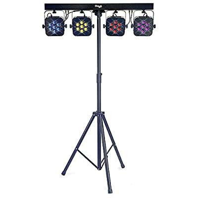 Stagg SLI FLATSET1-0 4 Way LED Spotlights with Bar, Stand, Foot Controller and Bag