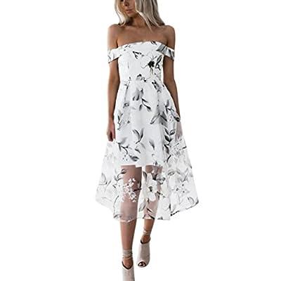 Hffan Damen Bekleidung Sommerkleid Schulterfrei Blumen Gedruckt Kleid Frauen Baumwolle Plissee Tunika Chic Strand Party Kleid Aus Schulter Knielang Minikleid Maxi Dress