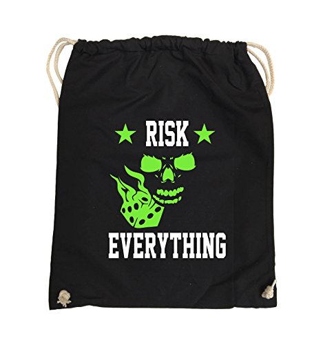 Comedy Bags - Risk everything - Turnbeutel - 37x46cm - Farbe: Schwarz / Weiss-Neongrün Schwarz / Weiss-Neongrün