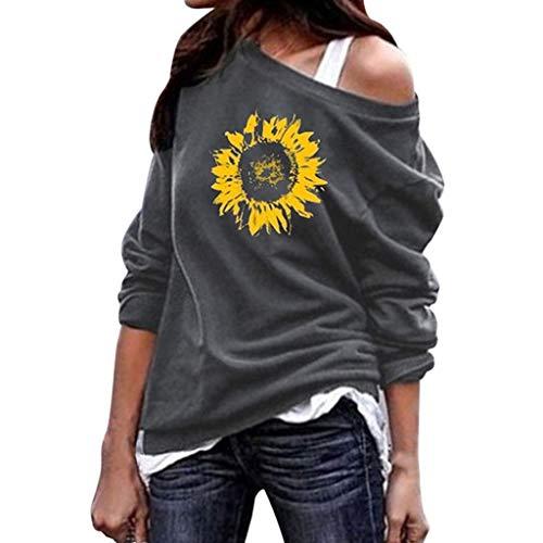 TAMALLU Damen T-Shirt Mode Lässig Gedruckt Rundkragen Lange Ärmel Tops Frauen Tee(Grau,2XL)