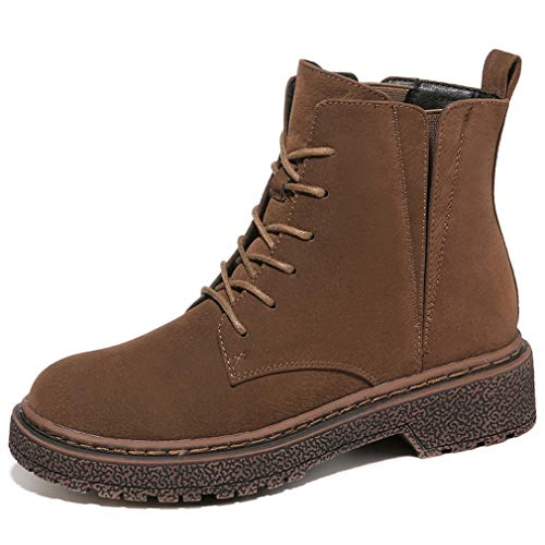 n Boots Microfiber Fall & Winter Lace Up Non-Slip Martin Boots Outdoor Wanderschuhe Radschuhe Black Brown,Brown,37 ()