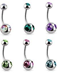 KULTPIERCING lot de 6 piercings pour nombril doubleball