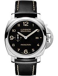amazon co uk panerai watches panerai men s luminor 1950 44mm black leather band automatic watch