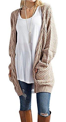 Blansdi Femmes Décontractée Open Front Poche Grande taille Classique Torsion Tricoter Pull Cardigan Outwear Kaki