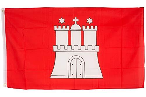SCAMODA Bundes- und Länderflagge aus wetterfestem Material mit Metallösen (Hamburg) 150x90cm -