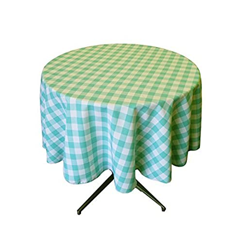 LA Linen Poly Checkered Round Tablecloth, 51-Inch, Mint/White by LA Linen