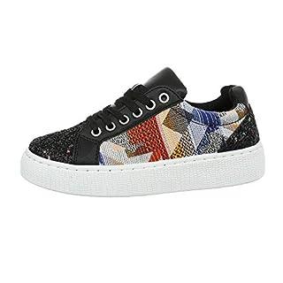 Ital-Design Damenschuhe Freizeitschuhe Sneakers Low Synthetik Schwarz Multi Gr. 39
