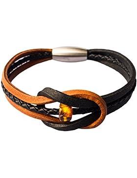 AmberConnections Naturleder (zweifarbig) Armband mit Bernsteinperle und Magnetverschluss, Unisex