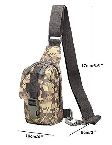 Menschwear Borse Vintage Borsa a Spalla Piccolo Tasca di Tela Trekking Outdoor Borsello Chest Bag per Sport Tasche Viaggio Marsupio Militare Camuffare 1 Camuffare 2