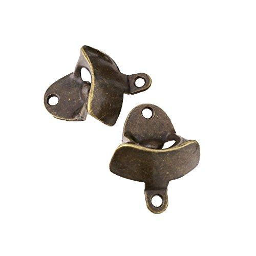 Mugetech - confezione da 2 apribottiglie, stile vintage, montaggio a parete, in lega di zinco, viti di montaggio incluse, colore: bronzo