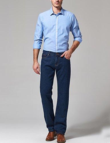 SSLR Homme Jeans Droit Taille Normale Classique Uni Bleu