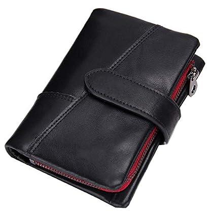 41R8mrcXDaL. SS416  - TIDING Billetera de cuero para hombre Billetera corta Cremallera Monedero Monedero Embrague Tarjeta de bolsillo