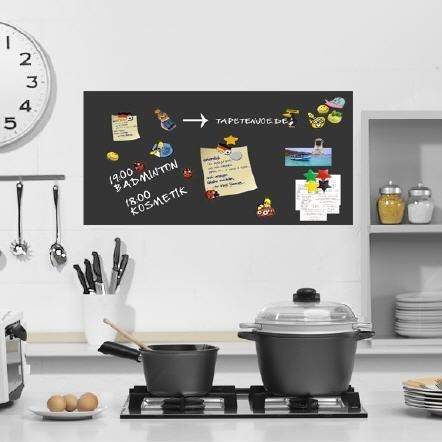 Unbekannt Selbstklebende magnetische Vinyl Folie Memotafel l -schwarz- 100x50cm inkl. 2 STK. Kreide 10 Neodym Magnete l Magnet Tafel Magnetfolie - Wandtafel Folie Kreidetafel Klebefolie