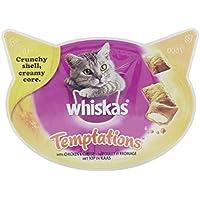 Whiskas Temptations Premios para Gatos Sabor Pollo y Queso - Paquete de 8 x 60 gr - Total: 480 gr