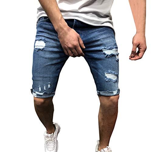 14c60c633 Qiansu Pantalón Corto Vaqueros para Hombre - Elástico Slim Fit Denim  Pantalones Cortos Distressed Rasgado Agujero Jeans Moda Dobladillo  Enrollado ...