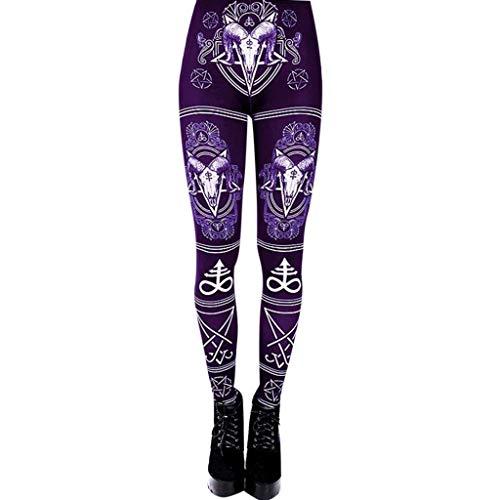 WOZOW Damen Leggings Gamaschen Punk Totem Pattern Print Druck Ethnic Cool Dünn Skinny Stretch Trousers High Waist Slim Lang Long Sport Hose Yoga Stoffhose (M,Lila)