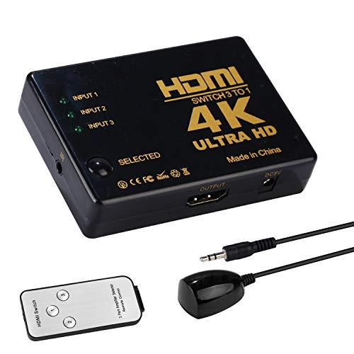 3 Port Hdmi Switcher (Yizhet HDMI Switch 4K 3 Port HDMI Switch 3 In 1 Out HDMI Switcher Box HDMI Splitter Box HDMI Verteiler 3D/HD/4K/1080p Adapter für Laptops/DVD/HDTV, inkl Fernbedienung(3 x IN / 1 x Out))