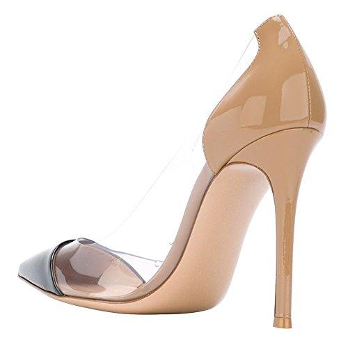 uBeauty Femmes Aiguille Talon Stilettos Slip On Escarpins Transparent Chaussures Enfiler Grande Taille noir c